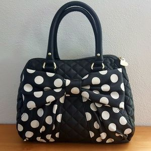 Betsey Johnson Quilted Handbag Polka Dot Bow